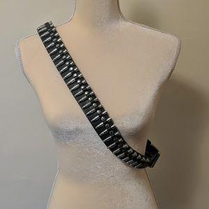 Vtg punk rock goth bullet belt genuine leather XL